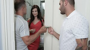 HUNT4K. Slutty brunette drilled on the couch near her angry boyfriend