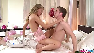 Blue-eyed blonde babe Cayenne Klein lusts for big dick deep pussy banging