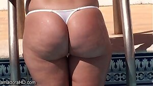 Wicked Weasel panty ass playing in the pool