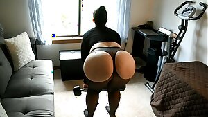 Phat ass white girl Mom Does Leg Workout In Sheer Spandex With Curtains Open