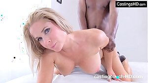 Huge-titted blonde MILF first-ever time interracial at rap video audition