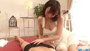 Hitomi Oki amazes with her sensitized skills in sucking cock