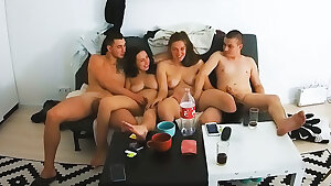 Young Real Swinger Couples Commence Foursome Gang Action