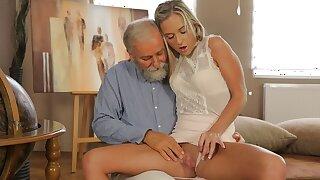 OLD4K. Elderly geography teacher fucks slutty blonde in various positions