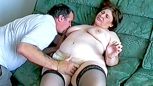 Spouse playing with his mature chubby wife