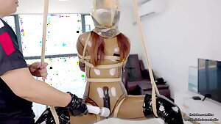 Nice Asian spandex schoolgirl DOVE, rope restrain bondage and air play