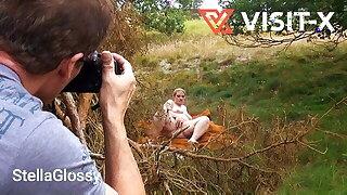 VISIT-X Voyeur films masturbating chubby blonde BBW MILF