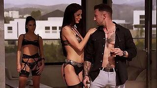 The perfect foursome, one guy for 3 hot brunettes Megan Rain  Alexa Tomas Apolonia Lapiedra