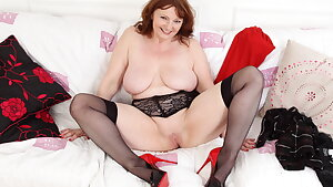 Buxom gilf Lady Ava demonstrates you her big boobies and fine fanny