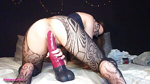 Pussy Stretching with BIG Horse Dildo, Creampie