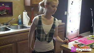 Small Boobed Coed Emi Clear In Topless Cooking Session!