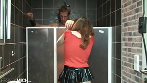 Youthful tiny girl pees on a slave's body in the shower
