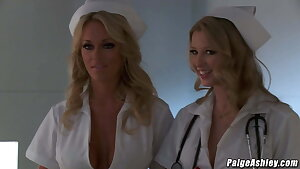 Paige Ashley fucking Johnny Castle in a health center threesome