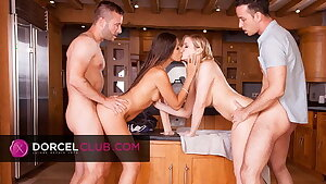 Very hot foursome with Clea Gaultier and Katy Jane