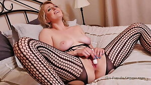 Hot MILF In Sexy Body Stocking Vibes And Fingers To Climax