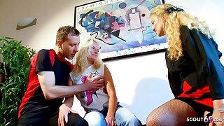 German Mature teaches Skinny Teen how to Fuck Huge Cock