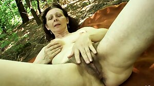 74yr elder Granny with Hairy Pussy POV Outdoor Sex with Teen