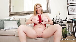 Big Breasts PAWG Sara Jay Finger Fucks Her Wet Clean-shaved Pussy!