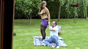 BBW wife fucks this guy in the park while you watch! WTF??