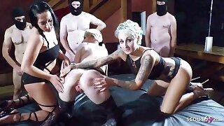 German Creampie Gangbang with Cougar Bella and Teen Sunny Sun 1